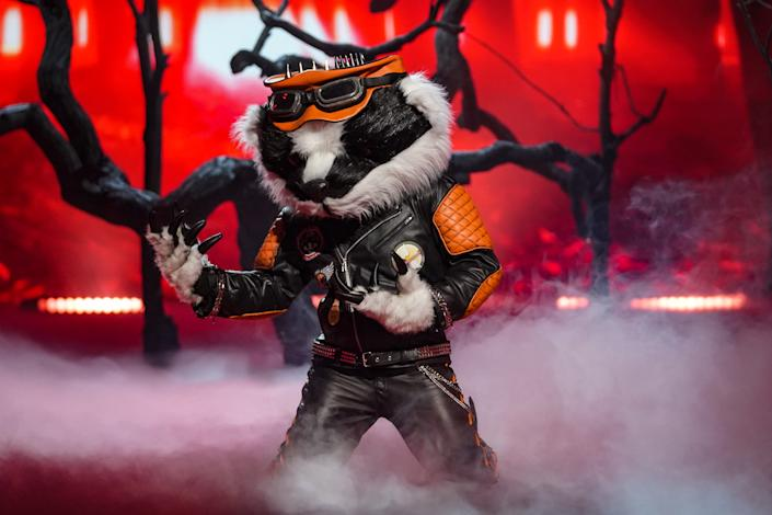 This image and the information contained herein is strictly embargoed until 00.01 Saturday 23rd January 2021  From Bandicoot TV  The Masked Singer: SR2: Ep5 on ITV  Pictured: Badger.  This photograph is (C) Bandicoot TV and can only be reproduced for editorial purposes directly in connection with the programme or event mentioned above, or ITV plc. Once made available by ITV plc Picture Desk, this photograph can be reproduced once only up until the transmission [TX] date and no reproduction fee will be charged. Any subsequent usage may incur a fee. This photograph must not be manipulated [excluding basic cropping] in a manner which alters the visual appearance of the person photographed deemed detrimental or inappropriate by ITV plc Picture Desk.  This photograph must not be syndicated to any other company, publication or website, or permanently archived, without the express written permission of ITV Picture Desk. Full Terms and conditions are available on the website www.itv.com/presscentre/itvpictures/terms  For further information please contact: james.hilder@itv.com / 0207 157 3052
