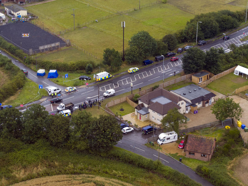 An aerial view of the scene at near Sulhamstead, Berkshire, where PC Andrew Harper was killed. (PA)