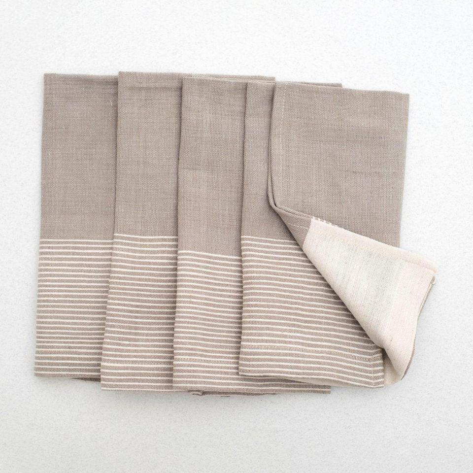 "<p>54kibo.com</p><p><strong>$65.00</strong></p><p><a href=""https://54kibo.com/collections/table-linens/products/alem-cotton-napkin-4-set-white-beige-stripe"" rel=""nofollow noopener"" target=""_blank"" data-ylk=""slk:Shop Now"" class=""link rapid-noclick-resp"">Shop Now</a></p><p>Named after the tallest summit in Africa, 54 Kibo is a design brand specializing in everything from tabletop to furniture sourced throughout the diaspora. Sparked by Founder, Nana Quagraine's realization of the of the under representation of African artisans was the genesis of the brand.</p>"