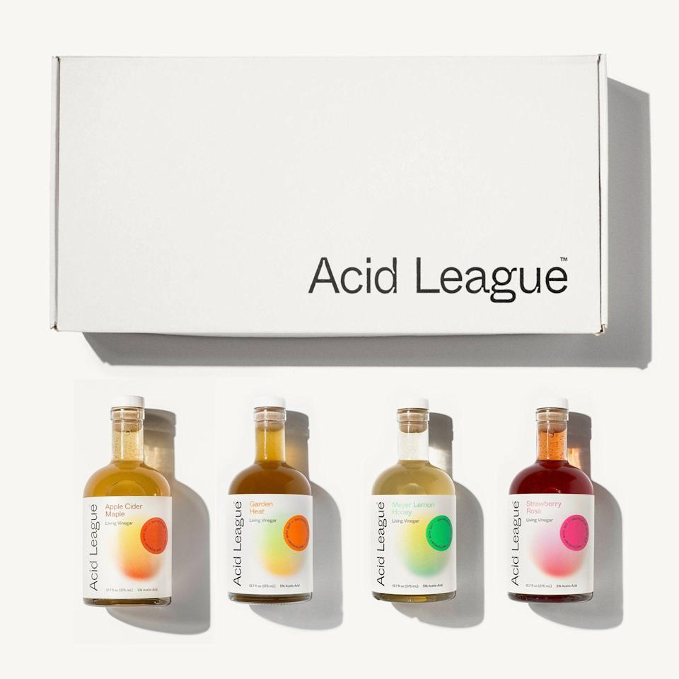 """<p>acidleague.com</p><p><strong>$49.00</strong></p><p><a href=""""https://go.redirectingat.com?id=74968X1596630&url=https%3A%2F%2Fwww.acidleague.com%2Fcollections%2Fvinegars%2Fproducts%2Fwelcome-to-the-big-league&sref=https%3A%2F%2Fwww.townandcountrymag.com%2Fleisure%2Fdining%2Fg29576420%2Fcooking-gifts%2F"""" rel=""""nofollow noopener"""" target=""""_blank"""" data-ylk=""""slk:Shop Now"""" class=""""link rapid-noclick-resp"""">Shop Now</a></p><p>Add some zing to your plate with a set of four of Acid League's """"Living Vinegars"""" (raw, unfiltered vinegars with a bit of the vinegar mother in each bottle that fans swear by for their prebiotic powers). Whether you're in it for the health benefits or just the flavors, the Apple Cider Maple, Meyer Lemon Honey, Strawberry Rosé, and veggie-forward Garden Heat are sure to please. </p>"""