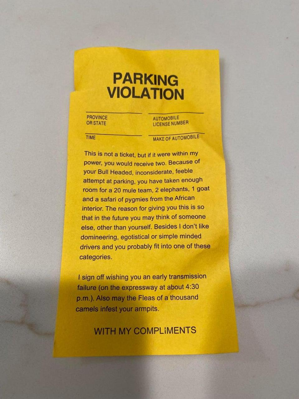 Tricia Proefrock discovered this note on her car. (Tricia Proefrock)