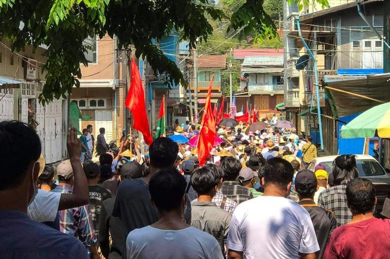 An anti-coup demonstration in Hpakant