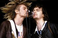 <p>Kurt Cobain with Eugene Kelly performing at the U.K.'s Reading Festival in 1992. Cobain was a big fan of Kelly and his band The Vaselines.</p>