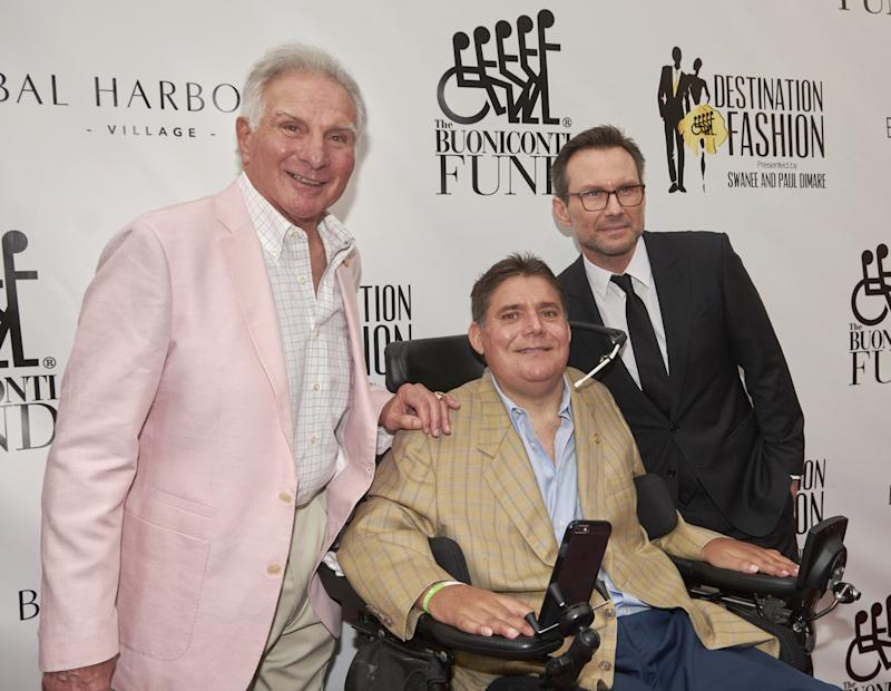 From left, Nick Buoniconti, his son, Marc, and actor Christian Slater at Buoniconti's 2016 benefit to raise funds to cure paralysis. (AP)
