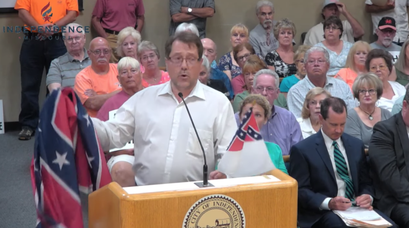 Mark Vendel, a part-time janitor employed by the city of Independence, spoke to the City Council asking that his Rebel flag be put on display next to the pride flag. (Photo: YouTube)
