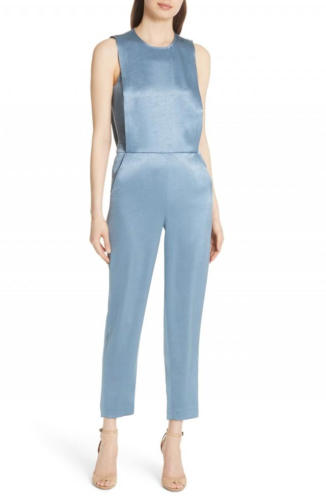 Theory satin light blue jumpsuit