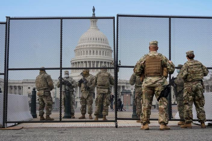 National Guard soldiers maintain a watch over the U.S. Capitol in Washington