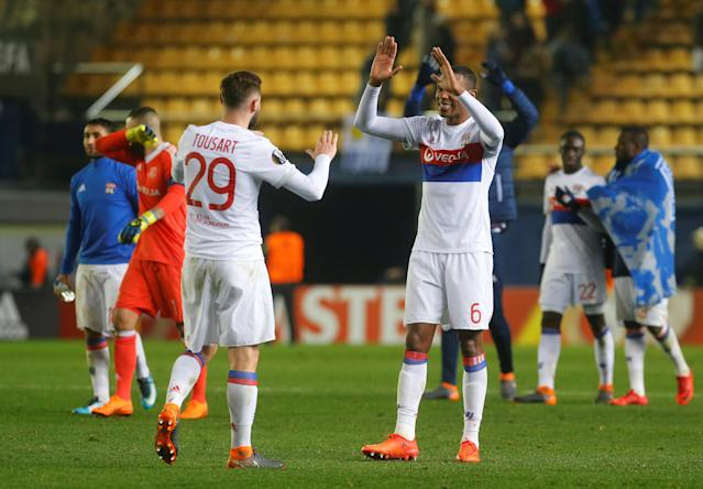 Soccer Football - Europa League Round of 32 Second Leg - Villarreal vs Olympique Lyonnais - Estadio de la Ceramica, Villarreal, Spain - February 22, 2018 Lyon's Marcelo and Lucas Tousart celebrate after the match REUTERS/Heino Kalis