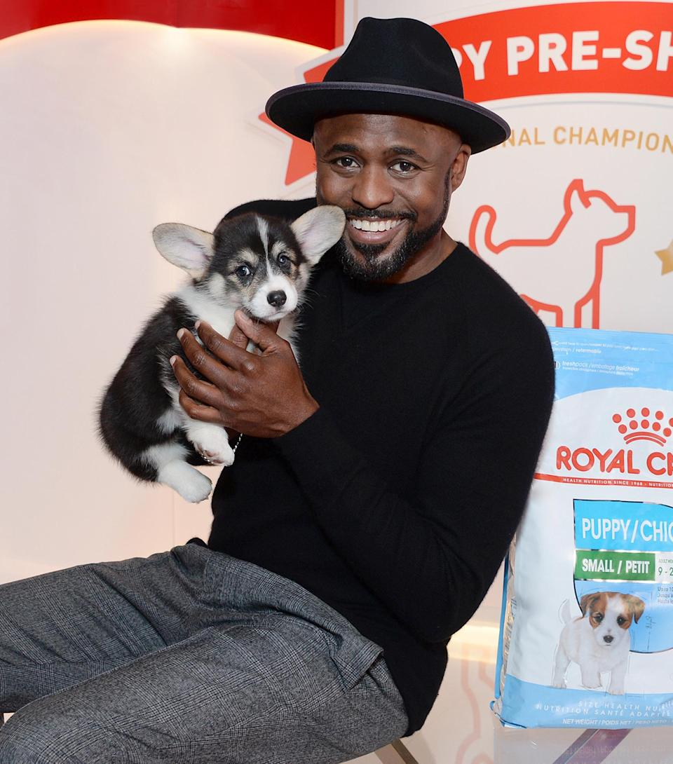 <p>Wayne Brady and his puppy costar have a photo op with Royal Canin in Los Angeles on Wednesday ahead of the AKC National Championship, airing on ABC on Jan. 17.</p>