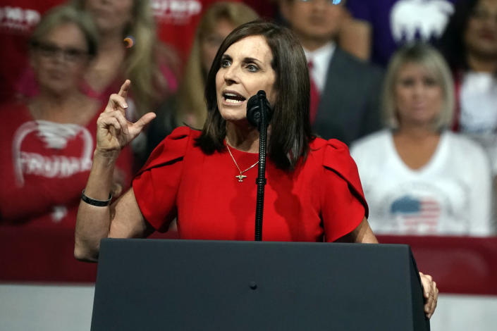 Sen. Martha McSally, R-Ariz., at a rally for President Trump earlier this month in Phoenix. (Rick Scuteri/AP)