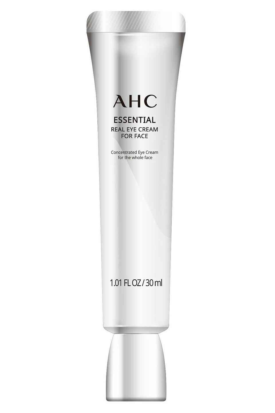 """<p><strong>AHC</strong></p><p>target.com</p><p><strong>$28.99</strong></p><p><a href=""""https://www.target.com/p/ahc-essential-eye-cream-1-01-fl-oz/-/A-76153603"""" rel=""""nofollow noopener"""" target=""""_blank"""" data-ylk=""""slk:SHOP NOW"""" class=""""link rapid-noclick-resp"""">SHOP NOW</a></p><p>If your girl is into K-beauty, they'll freak when they see this multitasking eye cream. It's hydrating, brightening, and light enough to slather all over the face.<br></p>"""