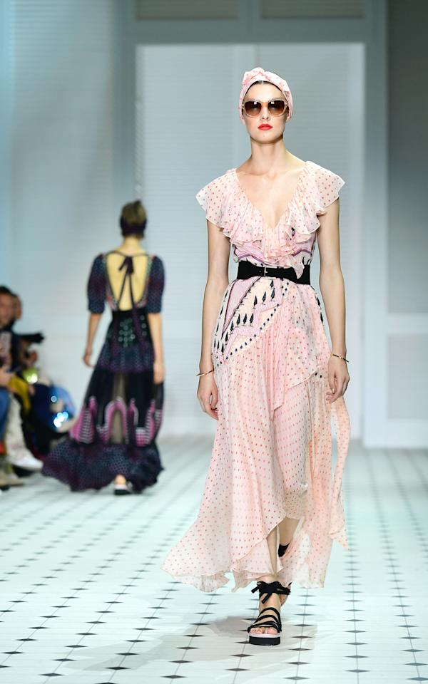 <p>As always Temperley London dazzled us with their intricate collection filled to the brim with glitzy gowns. <em>[Photo: PA]</em> </p>