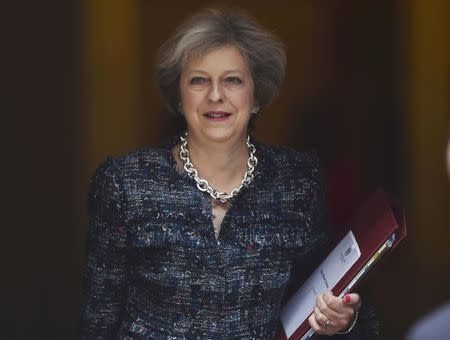 Britain's Prime Minister Theresa May leaves Number 10 Downing Street to attend Prime Minister's Questions at parliament in London