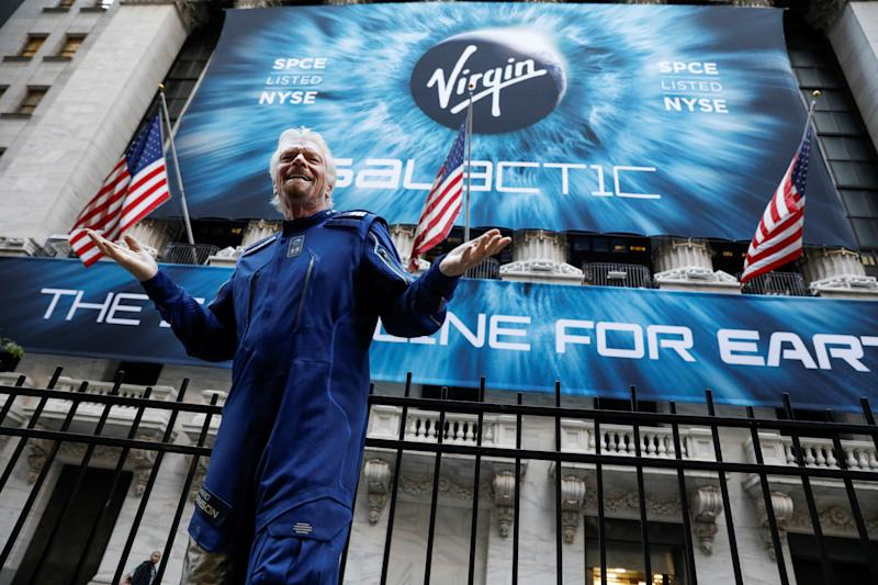 Sir Richard Branson stands outside the New York Stock Exchange (NYSE) ahead of the Virgin Galactic (SPCE) IPO in New York, U.S., October 28, 2019. REUTERS/Brendan McDermid