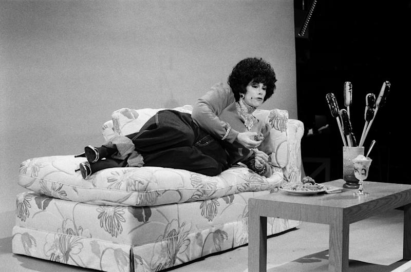 "Joan Rivers portrays Elizabeth Taylor during the 'Calvin Klein Jeans' skit on ""Saturday Night Live"" on April 9, 1983. (Alan Singer/NBC/NBCU Photo Bank)"
