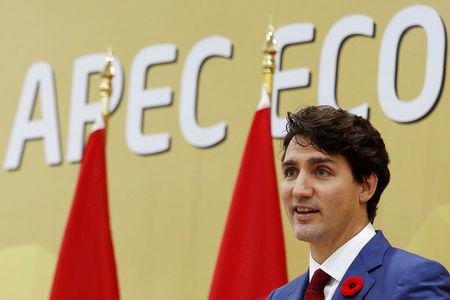 Canada's Prime Minister Justin Trudeau attends a news conference during the APEC Summit in Danang, Vietnam
