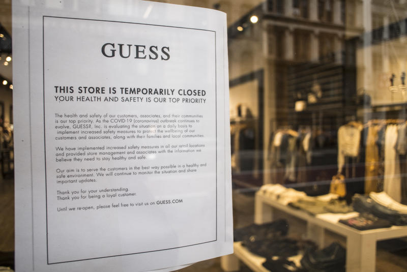 NEW YORK, NY - March 18 MANDATORY CREDIT Bill Tompkins/Getty Images GUESS store(s) closing(s) due to the coronavirus COVID-19 pandemic on March 18, 2020 in New York City. (Photo by Bill Tompkins/Getty Images)