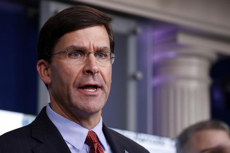 FILE - In this April 1, 2020, file photo, Defense Secretary Mark Esper speaks about the coronavirus in the James Brady Press Briefing Room of the White House in Washington. (AP Photo/Alex Brandon, File)