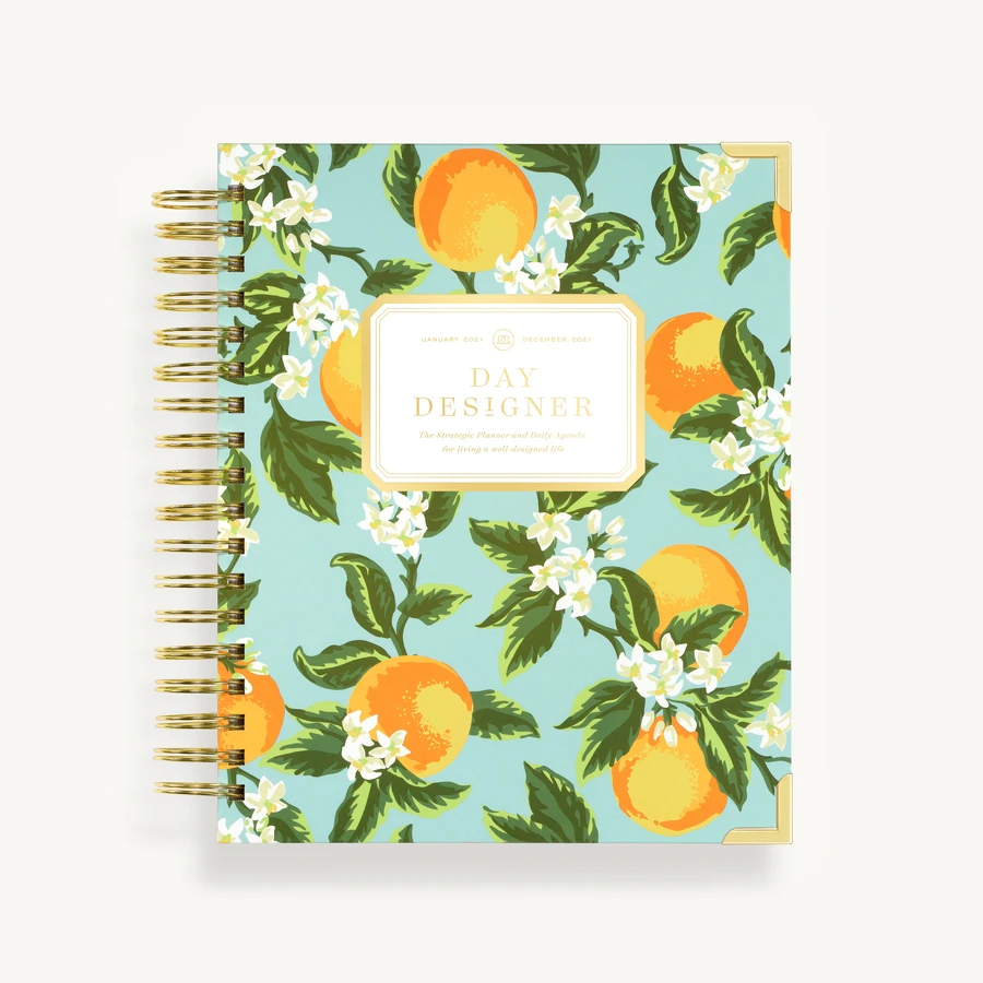 """<h3><a href=""""https://daydesigner.com/products/january-2021-daily-planner-orange-blossom"""" rel=""""nofollow noopener"""" target=""""_blank"""" data-ylk=""""slk:Day Designer 2021 Planner"""" class=""""link rapid-noclick-resp"""">Day Designer 2021 Planner</a></h3><br>This 12-month planner is designed as a simple system to help you manage your schedule, to-do lists, and ultimately get organized. It includes signature day-day pages, goal setting worksheets, annual overview, and monthly calendar, along with two gold foil sticker sheets and a bookmark ruler.<br><br><strong>Day Designer</strong> 2021 Daily Planner, $, available at <a href=""""https://go.skimresources.com/?id=30283X879131&url=https%3A%2F%2Fdaydesigner.com%2Fproducts%2Fjanuary-2021-daily-planner-orange-blossom"""" rel=""""nofollow noopener"""" target=""""_blank"""" data-ylk=""""slk:Day Designer"""" class=""""link rapid-noclick-resp"""">Day Designer</a>"""