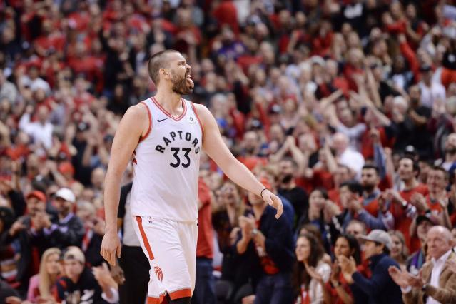 Toronto Raptors centre Marc Gasol (33) reacts during a stoppage in the second overtime period of Game 3 of the NBA basketball playoffs Eastern Conference finals in Toronto on Sunday, May 19, 2019. (Nathan Denette/The Canadian Press via AP)
