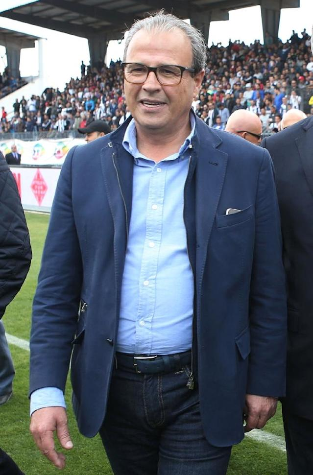 Moncef Khemakhem, President of Tunisia's CS Sfaxien, boasted of pinching an assistant referee on the buttocks (AFP Photo/MOHAMED KHALIL)
