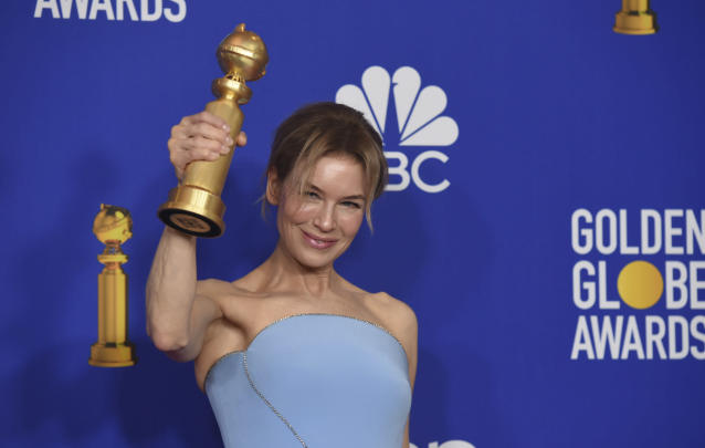 "Renee Zellweger poses in the press room with the award for best performance by an actress in a motion picture drama for ""Judy"" at the 77th annual Golden Globe Awards at the Beverly Hilton Hotel on Sunday, Jan. 5, 2020, in Beverly Hills, Calif. (AP Photo/Chris Pizzello)"