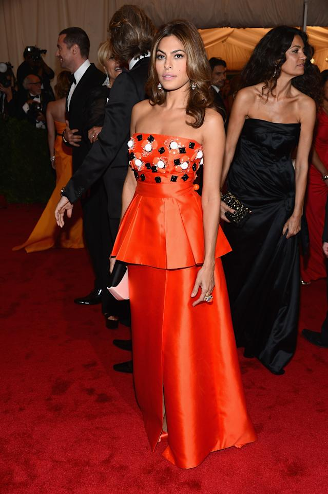 """NEW YORK, NY - MAY 07:  Actress Eva Mendes attends the """"Schiaparelli And Prada: Impossible Conversations"""" Costume Institute Gala at the Metropolitan Museum of Art on May 7, 2012 in New York City.  (Photo by Dimitrios Kambouris/Getty Images)"""