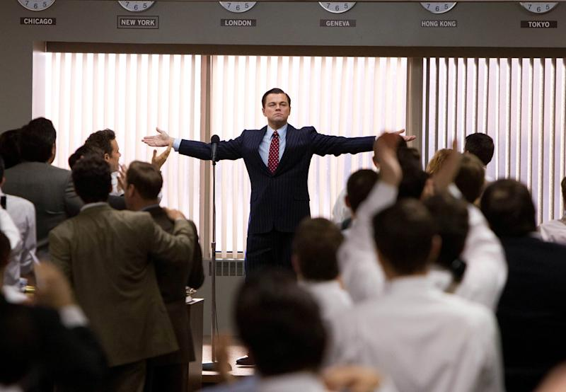 "This film image released by Paramount Pictures shows Leonardo DiCaprio as Jordan Belfort in a scene from ""The Wolf of Wall Street."" The film was nominated for an Academy Award for best picture on Thursday, Jan. 16, 2014. The 86th Academy Awards will be held on March 2. (AP Photo/Paramount Pictures, Mary Cybulski)"