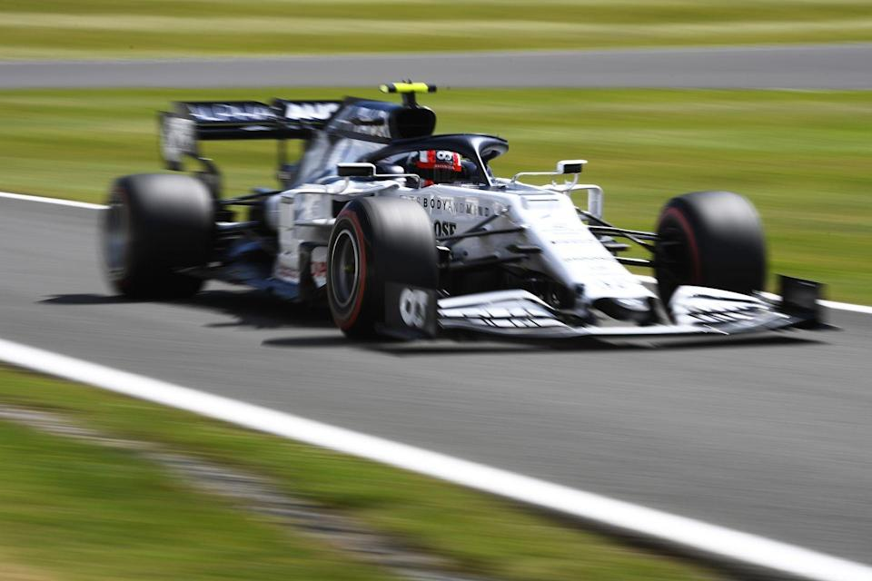 <p>Pierre Gasly of France driving the (10) Scuderia AlphaTauri AT01 Honda on track during qualifying for the F1 Grand Prix of Great Britain at Silverstone on August 01, 2020 in Northampton, England.</p>