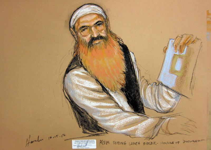 In this photo of a sketch by courtroom artist Janet Hamlin and reviewed by the U.S. Department of Defense, Khalid Sheikh Mohammed holds up a piece of paper during a court recess at his Military Commissions pretrial hearing in the Guantanamo Bay U.S. Naval Base in Cuba, Monday, Oct. 15, 2012. Khalid Sheikh Mohammed, who has portrayed himself as the mastermind behind the Sept. 11 attacks, and four other co-defendants were back before a military tribunal, forgoing the protest that turned their last appearance into an unruly 13-hour spectacle. (AP Photo/Janet Hamlin, Pool)