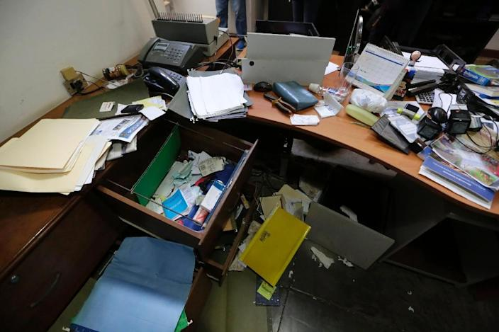 View of Chamorro's office after the police raid (AFP Photo/Inti Ocon)