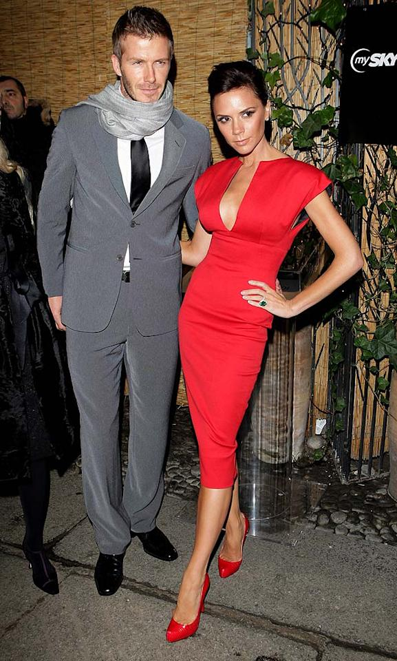"David and Victoria Beckham always step out in style. Venturelli/<a href=""http://www.wireimage.com"" target=""new"">WireImage.com</a> - January 20, 2009"