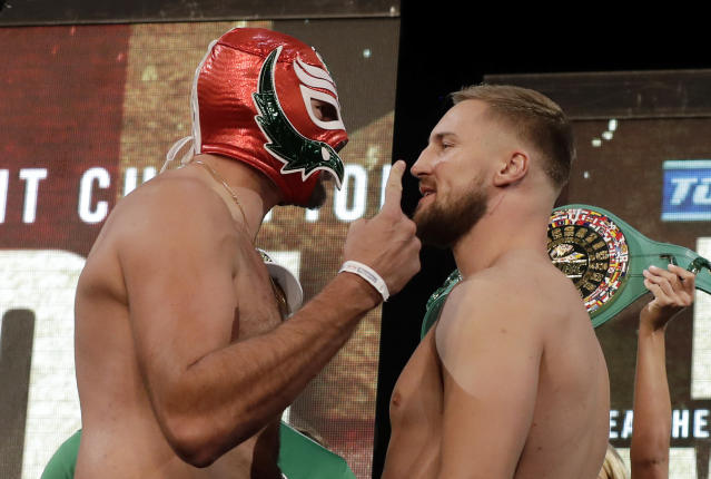 Tyson Fury, left, of England, and Otto Wallin, of Sweden, pose during a ceremonial weigh-in for their upcoming fight Friday, Sept. 13, 2019, in Las Vegas. Wallin and Fury will face each other in a heavyweight boxing match Saturday. (AP Photo/Isaac Brekken)
