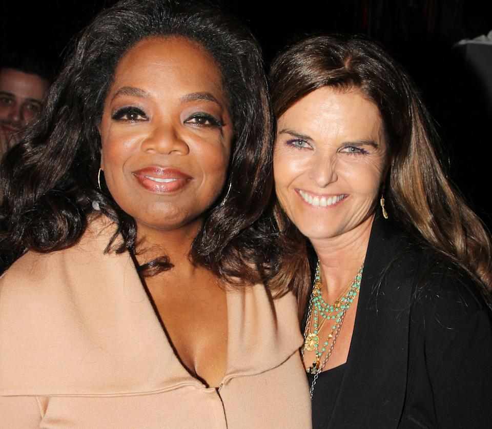 NEW YORK, NY - MAY 15:  (EXCLUSIVE COVERAGE) Oprah Winfrey and Maria Shriver pose backstage at the hit musical