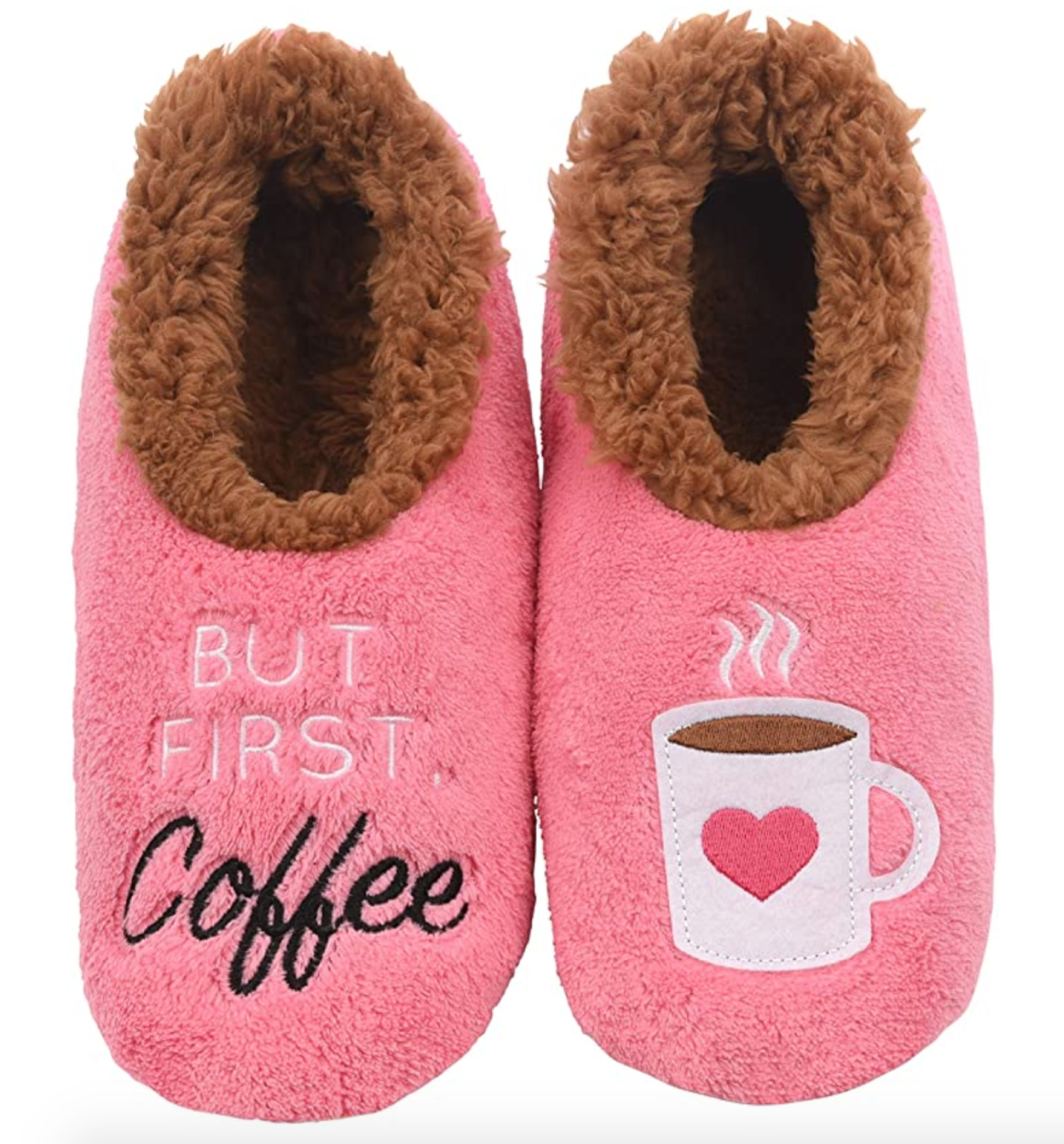 Snoozies Applique Slipper Socks in But First, Coffee (Photo via Amazon)