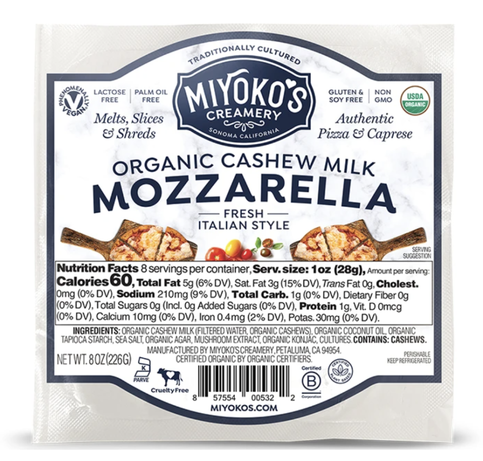 "<p><strong>Miyoko's Creamery</strong></p><p>instacart.com</p><p><strong>$9.19</strong></p><p><a href=""https://go.redirectingat.com?id=74968X1596630&url=https%3A%2F%2Fwww.instacart.com%2Fproducts%2F3192106-miyoko-s-creamery-cheese-organic-mozzarella-8-oz&sref=https%3A%2F%2Fwww.goodhousekeeping.com%2Ffood-products%2Fg35886676%2Fbest-vegan-food-products%2F"" rel=""nofollow noopener"" target=""_blank"" data-ylk=""slk:Shop Now"" class=""link rapid-noclick-resp"">Shop Now</a></p><p><strong>This vegan take on mozzarella features organic cashew milk as the first main ingredient. </strong>Miyoko's in general makes an excellent line of vegan dairy alternatives, and this cheese has great flavor and impressed us with how it looks and performs like traditional mozzarella. Enjoy it melted on homemade pizza or chopped in fresh bruschetta. </p>"
