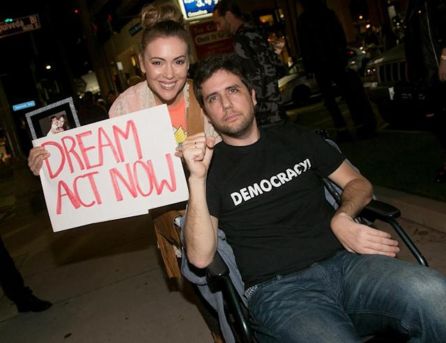 <p>The actress and activist Ady Barkan attended the Los Angeles Supports a Dream Act Now! protest at the office of California Sen. Dianne Feinstein on Wednesday. The Dream Act is a legislative proposal toprotect young immigrants who are vulnerable to deportation. (Photo: Gabriel Olsen/Getty Images) </p>