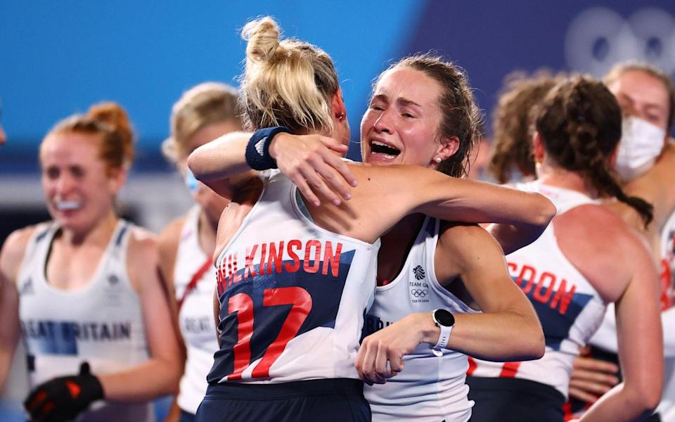 Britain celebrate progressing to the Olympic semi-finals - REUTERS