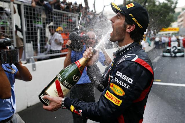 MONTE CARLO, MONACO - MAY 27: Mark Webber of Australia and Red Bull celebrates winning the Monaco Formula One Grand Prix at the Circuit de Monaco on May 27, 2012 in Monte Carlo, Monaco. (Photo by Peter J Fox/Getty Images)