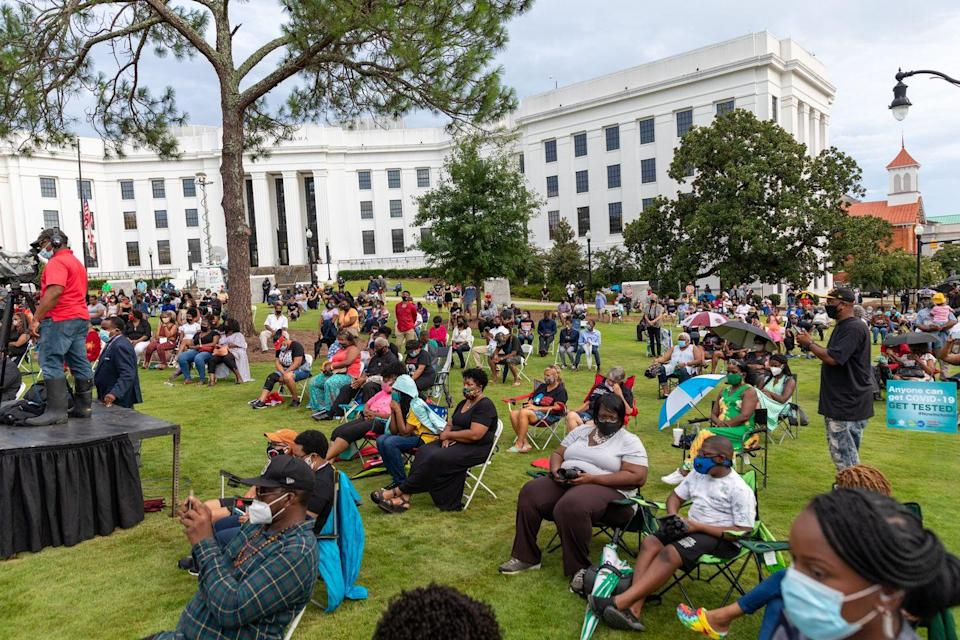 <p>The city of Montgomery held an evening vigil, remembering Representative Lewis's life. The event, held at Bicentennial Park, featuring singing, speeches, and a viewing of Lewis's casket as the funereal procession left Montgomery for Washington, D.C. <br></p>