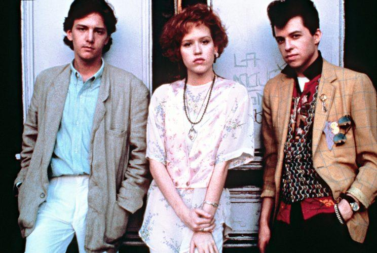 Andrew McCarthy, Molly Ringwald and Jon Cryer in Pretty in Pink. (Credit: Everett Collection)
