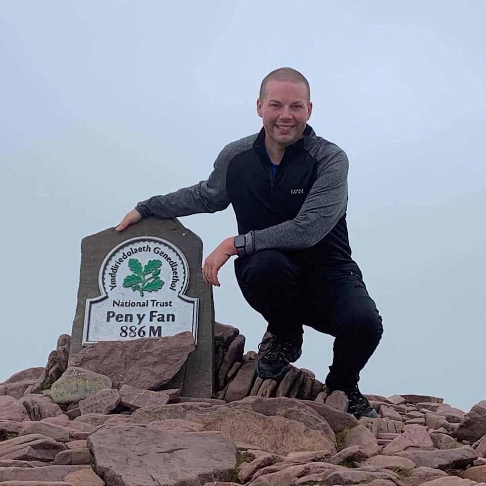 Rhys at the top of Pen Y Fan, in South Wales. PA REAL LIFE