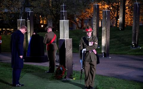 Prince Harry led the nation's tribute by laying a wreath at Wellington Arch