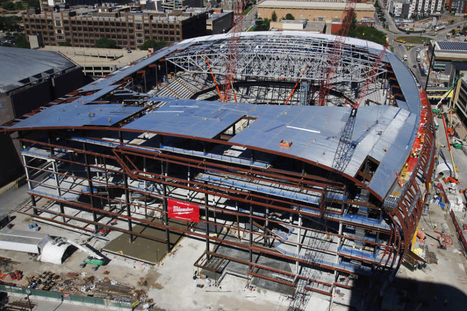 """Lawmakers who approved $250 million to fund the new <a class=""""link rapid-noclick-resp"""" href=""""/nba/teams/mil"""" data-ylk=""""slk:Bucks"""">Bucks</a> arena are upset after a company eligible for a state subsidy bought the building's naming rights. (AP)"""