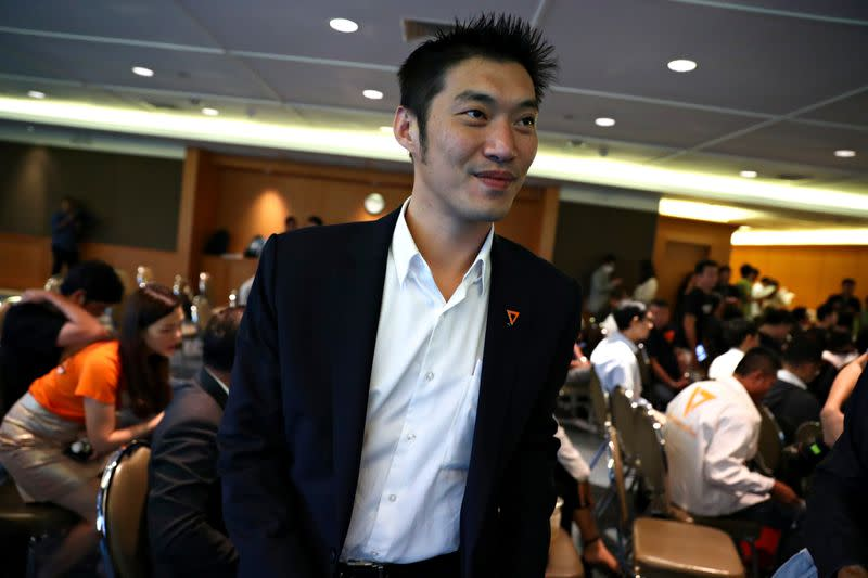 Thailand's opposition Future Forward Party leader Thanathorn Juangroongruangkit is pictured before hearing the verdict from the Constitutional Court at the party headquarters in Bangkok
