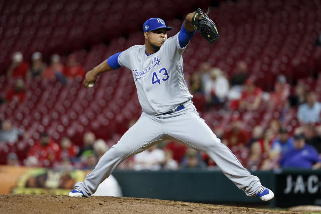 FILE - In this Sept. 25, 2018, file photo,Kansas City Royals relief pitcher Wily Peralta throws during the ninth inning of the team's baseball game against the Cincinnati Reds, in Cincinnati. Theres experience in the rotation with LHP Danny Duffy, RHP Brad Keller, RHP Jakob Junis and RHP Ian Kennedy at the front end, but none of them are necessarily entrenched in their spots. The bullpen is total question mark, though, with perhaps the exception of Wily Peralta at the back end. (AP Photo/John Minchillo, File)