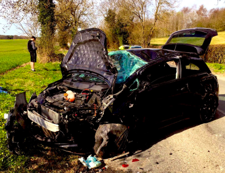The car had three passengers, who were all discharged at the scene. (Thames Valley Police)