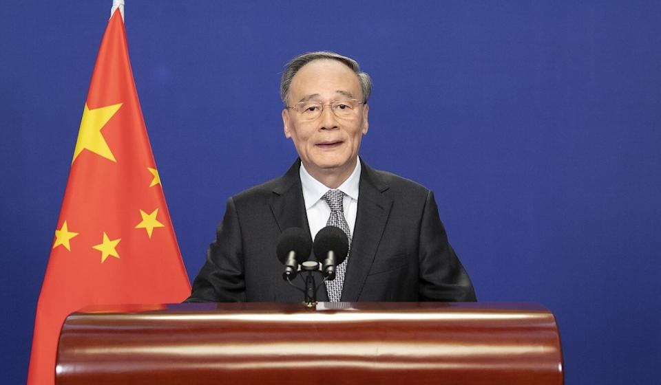 Chinese Vice-President Wang Qishan delivers a keynote speech at the New Economy Forum via video link on Monday. Photo: Xinhua