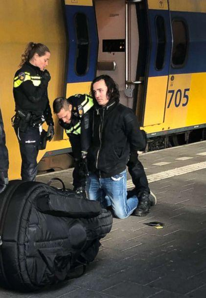 PHOTO: The suspect in the stabbing death of an American student as he was arrested at the Eindhoven train station. (Erik van Der Heijden)