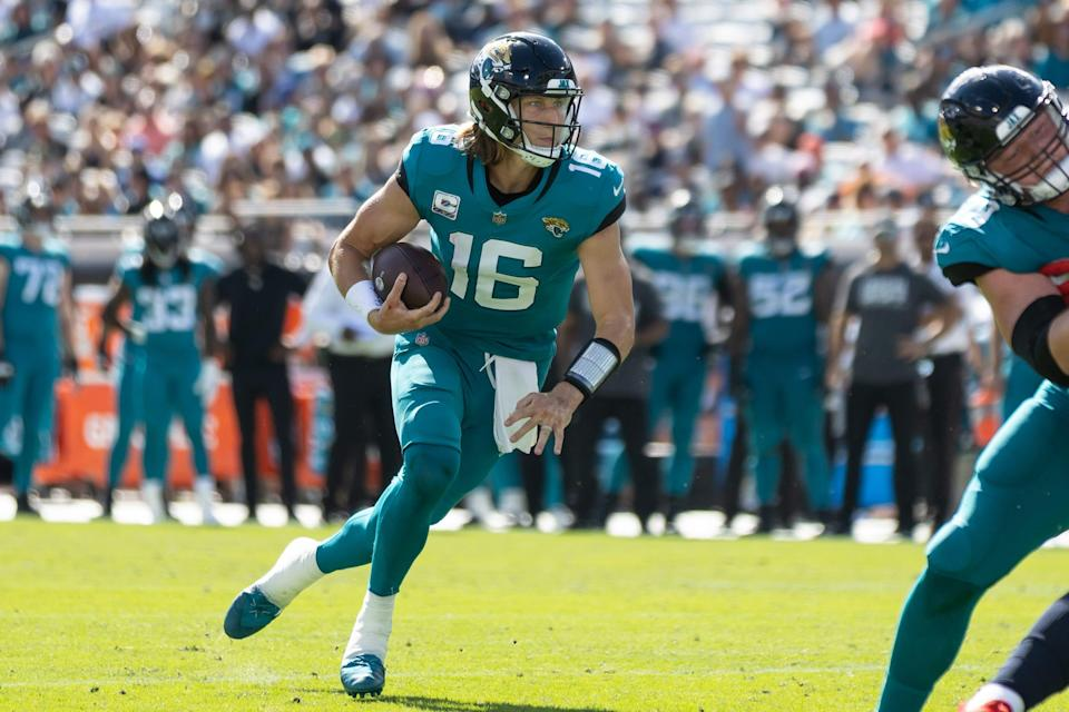 Jaguars quarterback Trevor Lawrence has had a rushing touchdown each of the past two weeks.